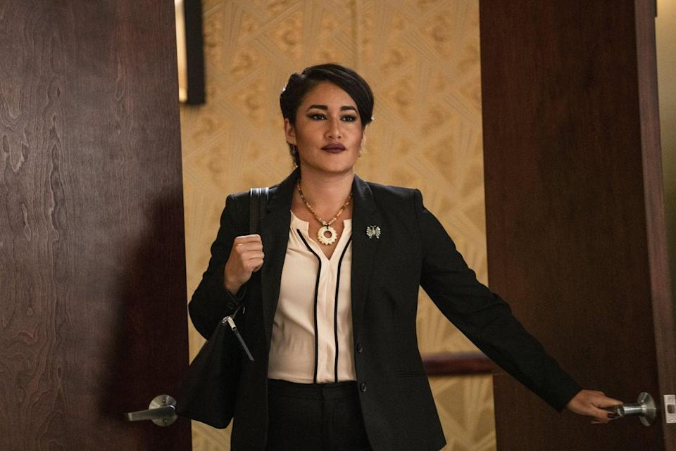 <p>Although Q'orianka's character is new to <em>Yellowstone</em>, it seems like she's going to make a big impact in season 4. Angela Blue Thunder was hired by Chief Rainwater to help the people of Broken Rock, but her motives may not be as pure as they seem. (Hence why Rainwater needs to use sage after talks with her!) </p><p>Q'orianka previously starred in<em> Neverland </em>and<em> Dora and the Lost City of Gold.</em></p>