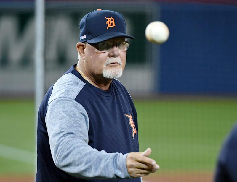 Detroit Tigers manager Ron Gardenhire throws a ball during batting practice before playing the Toronto Blue Jays at Rogers Centre, March 28, 2019.