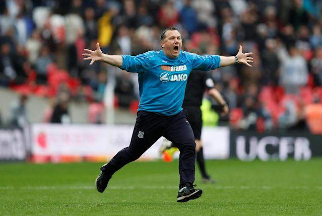 Soccer Football - National League Promotion Final - Tranmere Rovers v Boreham Wood - Wembley Stadium, London, Britain - May 12, 2018 Tranmere Rovers manager Micky Mellon celebrates victory Action Images/Matthew Childs
