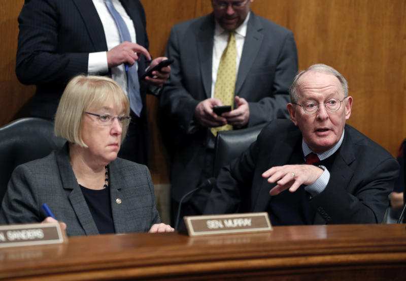 FILE - In this Jan. 31, 2017 file photo, Senate Health, Education, Labor, and Pensions Committee Chairman Sen. Lamar Alexander, R-Tenn., accompanied by the committee's ranking member Sen. Patty Murray, D-Wash. speaks on Capitol Hill in Washington.  Millions of people who buy individual health insurance policies and get no government help for premiums are facing another year of double-digit premium increases and frustration is boiling over.  (AP Photo/Alex Brandon, File)