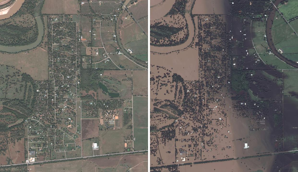 """Left is a """"before"""" DigitalGlobe satellite image taken on November 20, 2016 of a neighborhood in Simonton, Texas, and on the right taken on August 30, 2017 after Hurricane Harvey. (Photos: DigitalGlobe via Getty Images)"""
