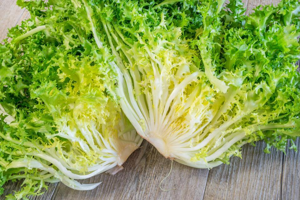 """<p>Chicories are leafy greens with an intensely bitter flavor and hearty texture. Examples include (but aren't limited to): endive, frisée, radicchio and escarole. These are often used in bold salads perfect for fall and winter, like <a href=""""https://www.thedailymeal.com/best-recipes/curly-endive-salad-sun-dried-tomatoes-almonds?referrer=yahoo&category=beauty_food&include_utm=1&utm_medium=referral&utm_source=yahoo&utm_campaign=feed"""" rel=""""nofollow noopener"""" target=""""_blank"""" data-ylk=""""slk:curly endive salad"""" class=""""link rapid-noclick-resp"""">curly endive salad</a> or <a href=""""https://www.thedailymeal.com/best-recipes/cauliflower-radicchio-salad?referrer=yahoo&category=beauty_food&include_utm=1&utm_medium=referral&utm_source=yahoo&utm_campaign=feed"""" rel=""""nofollow noopener"""" target=""""_blank"""" data-ylk=""""slk:quinoa radicchio salad with cauliflower"""" class=""""link rapid-noclick-resp"""">quinoa radicchio salad with cauliflower</a>. You can find chicories primarily in September and October, though the season's length will vary depending on where you live.</p>"""