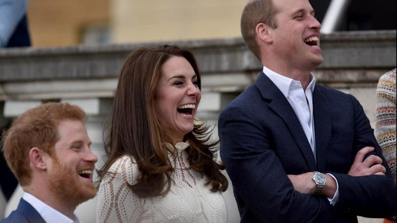 Prince Harry with Kate Middleton and Prince William