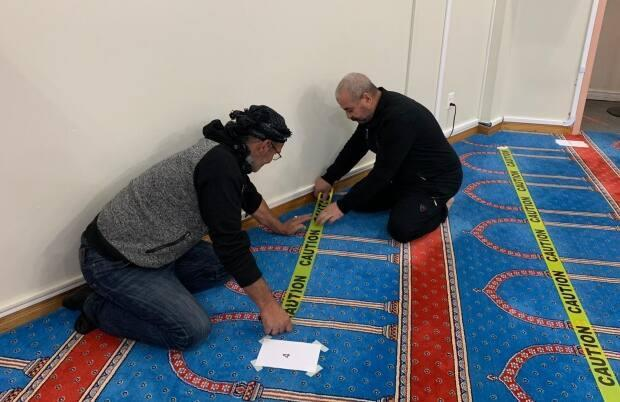 Markings to ensure physical distancing have been put in place at the Masjid-an-Noor mosque in St. John's since the onset of the pandemic.  (Submitted by the Muslim Association of Newfoundland and Labrador - image credit)