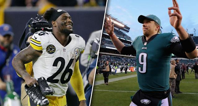 """The landing spots for Le'Veon Bell and <a class=""""link rapid-noclick-resp"""" href=""""/nfl/players/25798/"""" data-ylk=""""slk:Nick Foles"""">Nick Foles</a> have been the talk of the town this offseason. (Photos by Bob Levey/Brett Carlsen/Getty Images)"""