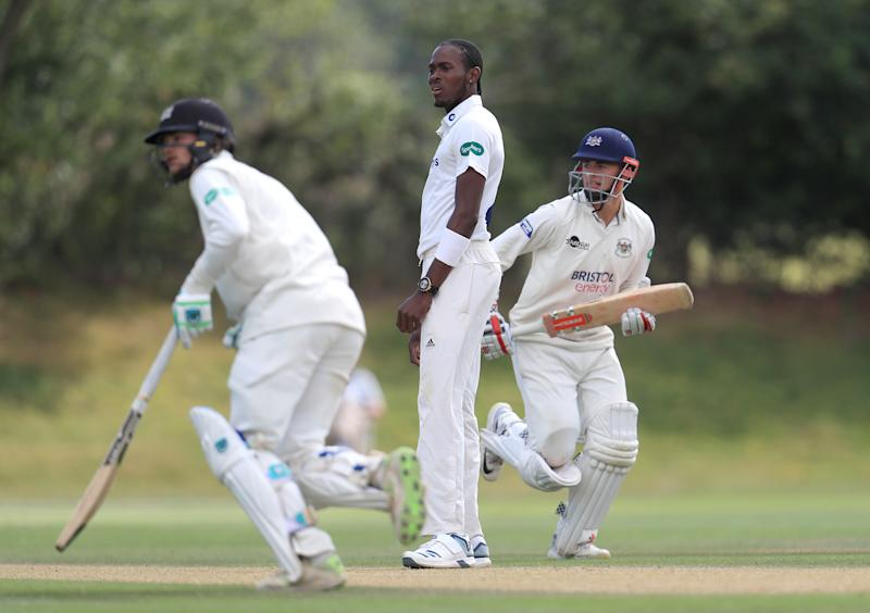 Sussex's Jofra Archer reacts during day two of the Second XI Championship match at Blackstone Academy Ground, Henfield. (Photo by Simon Cooper/PA Images via Getty Images)
