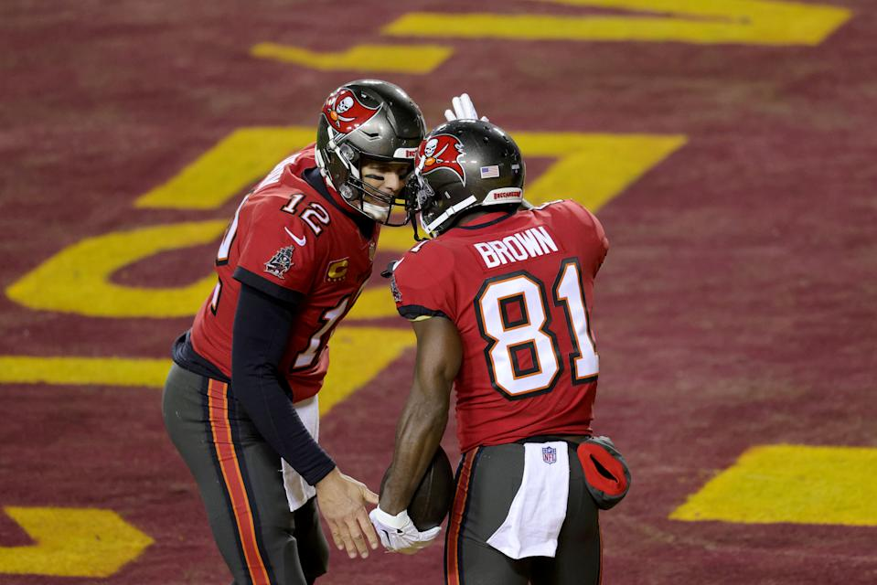 Quarterback Tom Brady #12 and wide receiver Antonio Brown #81 of the Tampa Bay Buccaneers