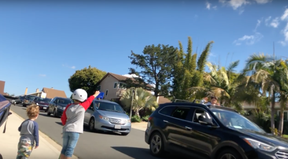 California teachers delighted their students, confined at home because of the coronavirus, with a 50-car parade. (Photo: Courtesy of Mandy Bedard)