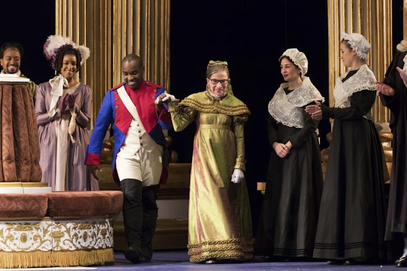 "This Thursday, Nov. 10, 2016 photo released by the Washington National Opera shows U.S. Supreme Court Justice Ruth Bader Ginsburg, center, as the Duchess of Krakenthorp in a dress rehearsal of Donizetti's ""The Daughter of the Regiment"" at the Washington National Opera in Washington. The performance marks Ginsburg's debut in an operatic speaking role. (Scott Suchman/WNO via AP)"