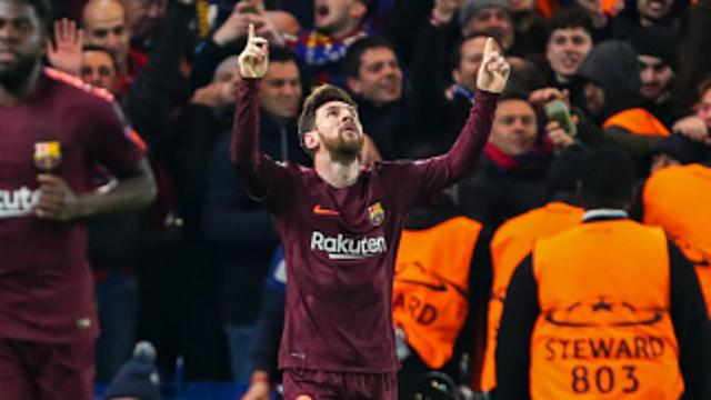 Lionel Messi scored his first goal against Chelsea at the ninth attempt during Barcelona's Champions League fixture in London.
