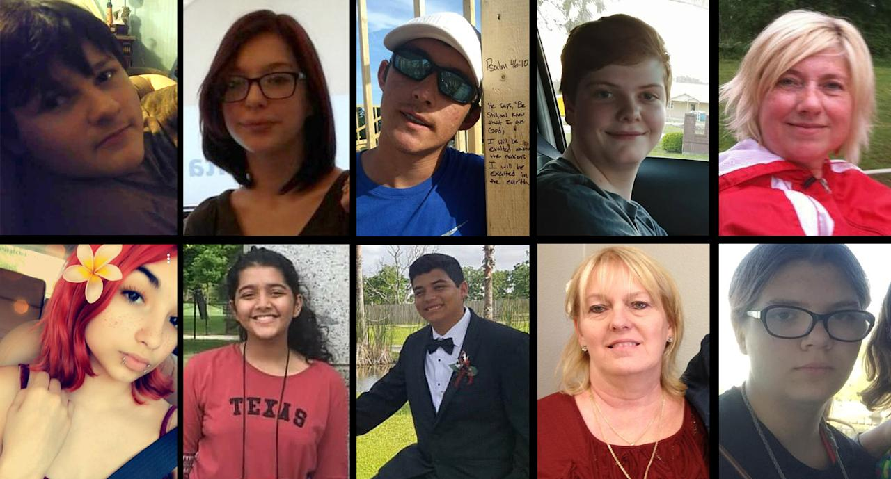 <p>Victims of the Santa Fe High School shooting in Texas. Top, from left: Jared Conrad Black, Shana Fisher, Christian Riley Garcia, Aaron Kyle McLeod, Glenda Perkins. Bottom, from left: Angelique Ramirez, Sabika Sheikh, Christopher Jake Stone, Cynthia Tisdale, Kimberly Vaughan. (Photos: Facebook, Twitter) </p>