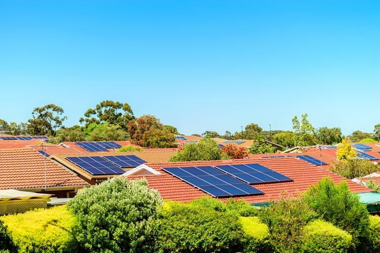 """<span class=""""caption"""">Rooftop solar can patch gaps in energy grid supply but its output is hard to measure.</span> <span class=""""attribution""""><a class=""""link rapid-noclick-resp"""" href=""""https://www.shutterstock.com/image-photo/solar-panels-installed-on-roof-south-513272902?src=4e1vvYzLsTOhB4Upz8W5qw-1-6"""" rel=""""nofollow noopener"""" target=""""_blank"""" data-ylk=""""slk:www.shutterstock.com"""">www.shutterstock.com</a></span>"""