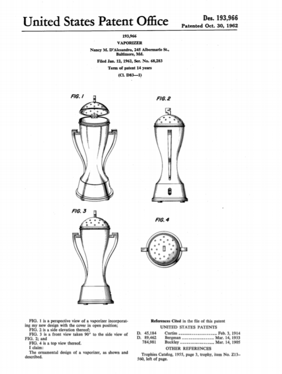 """Nancy D'Alesandro filed for several patents for the """"Vaporizer."""" (Filing retrieved by Lillianna Byington, a researcher for Madam Speaker, from the United States Patent and Trademark Office)"""