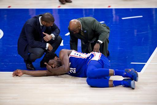 """The <a class=""""link rapid-noclick-resp"""" href=""""/nba/teams/phi"""" data-ylk=""""slk:Philadelphia 76ers"""">Philadelphia 76ers</a> will be without All-Star center <a class=""""link rapid-noclick-resp"""" href=""""/nba/players/5294/"""" data-ylk=""""slk:Joel Embiid"""">Joel Embiid</a> as they get ready for the playoffs. (Getty)"""