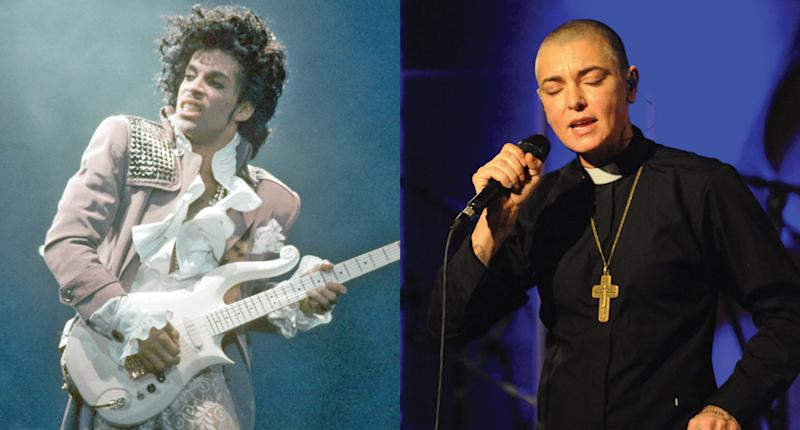 Sinéad O'Connor says Prince got violent with her. (Photos: Getty Images)