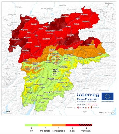The current avalanche risk in Austria - Credit: avalanche.report