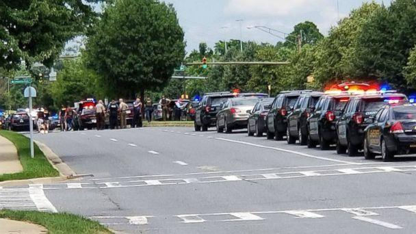 PHOTO: First responders gather after reports of a shooting in the offices of the Capital Gazette in Annapolis, Md., June 28, 2018. (Team Randori Martial Arts, Annapolis, MD/Facebook)