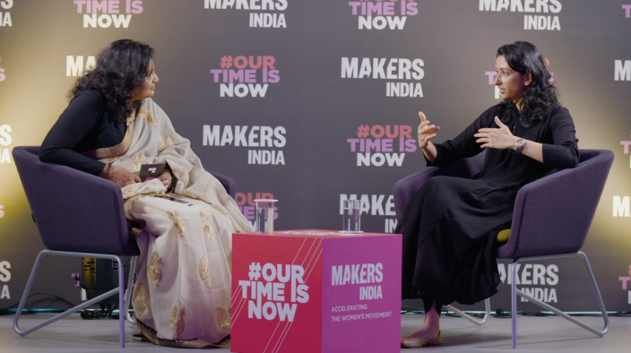 Anisha Padukone in a chat with Athira Nair, journalist at YourStory, on mental health awareness efforts by The Live Love Laugh Foundation, at a meetup by MAKERSIndia in Bengaluru on October 31,2019.