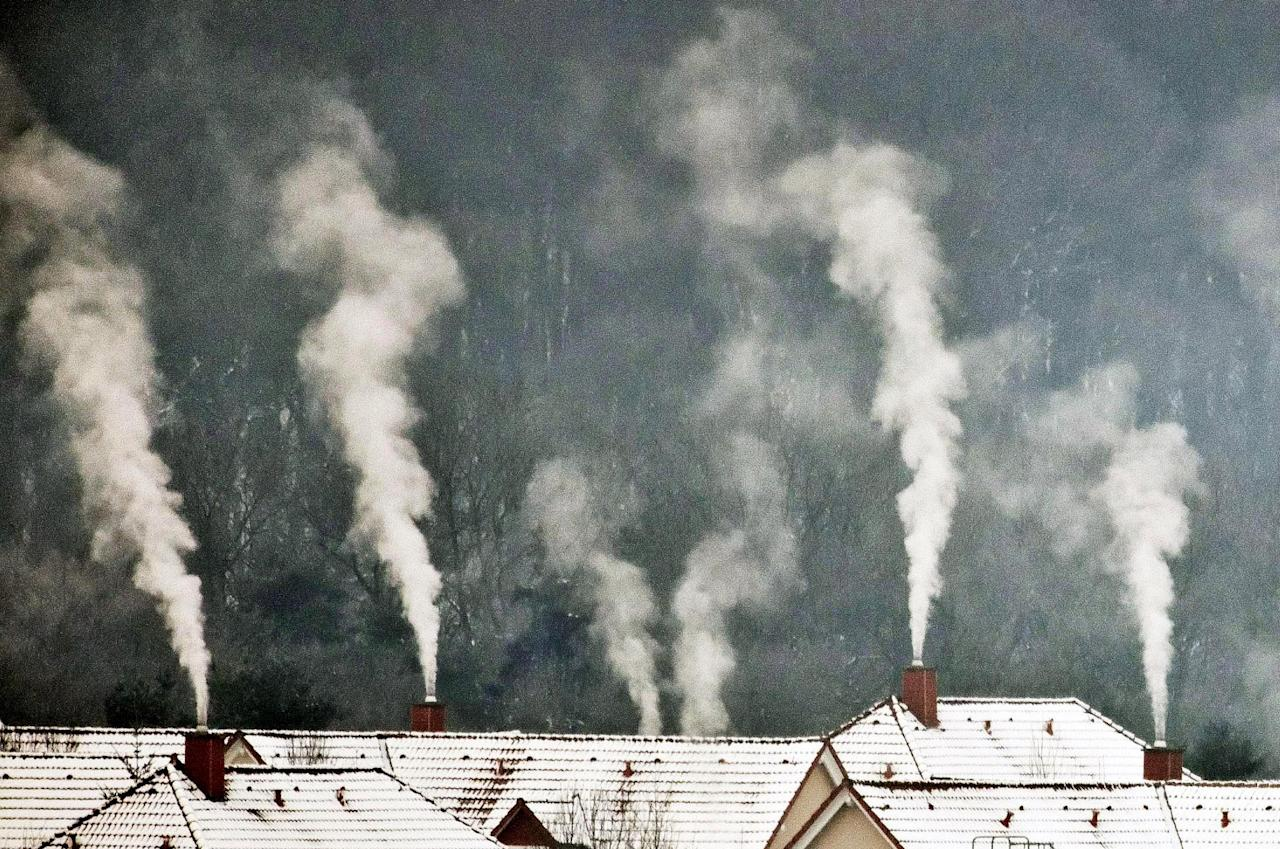 Smoke rises from chimneys on a cold winter morning near Weimar, central Germany, Tuesday, Feb. 7, 2012. A cold spell has reached central and eastern Europe with temperatures far below zero. (AP Photo/Jens Meyer)