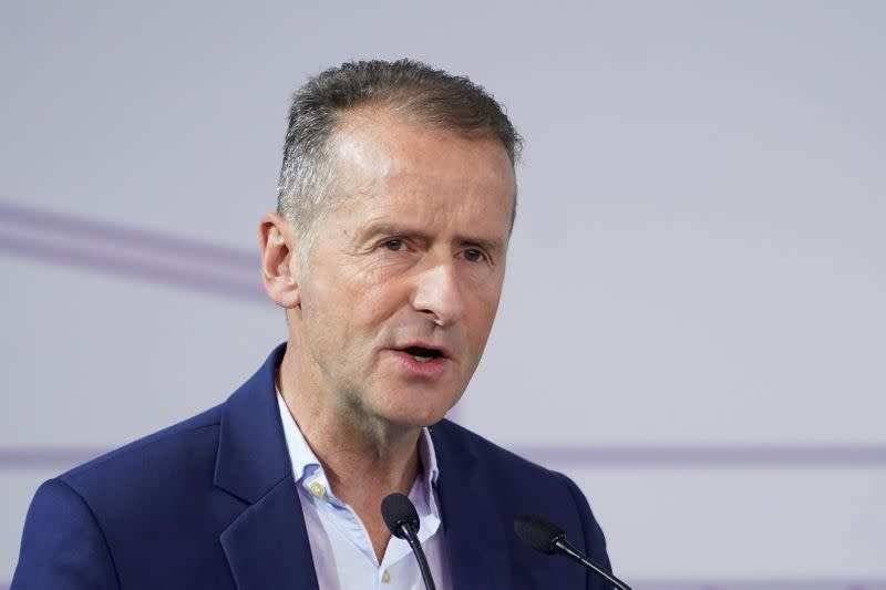 Volkswagen Group CEO Herbert Diess attends a construction completion event of SAIC Volkswagen MEB electric vehicle plant in Shanghai
