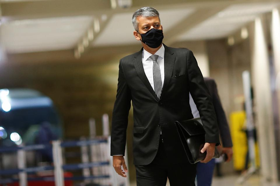 Former Logistics Director of the Ministry of Health, Roberto Ferreira Dias, walks before a meeting of the Parliamentary Inquiry Committee (CPI) to investigate government actions and management during the coronavirus disease (COVID-19) pandemic, at the Federal Senate in Brasilia, Brazil July 7, 2021. REUTERS/Adriano Machado