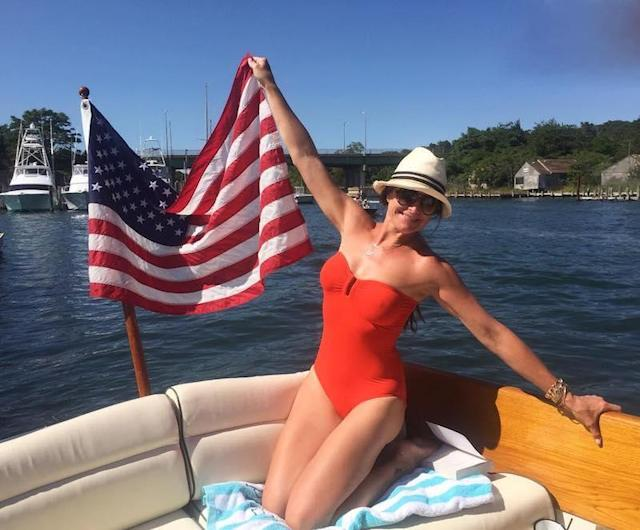"<p>The actress/entrepreneur kept it patriotic matching her strapless one piece to the occasion: ""Hope you all had a great 4th!"" (Photo: <a href=""https://www.instagram.com/p/BWJB4xEF-Kt/"" rel=""nofollow noopener"" target=""_blank"" data-ylk=""slk:Brooke Shields via Instagram"" class=""link rapid-noclick-resp"">Brooke Shields via Instagram</a>)<br><br></p>"