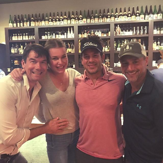 While Jerry O'Connell and Rebecca Romijn celebrated their 10th anniversary, her <em>Librarians</em> co-star Christian Kane, in pink, crashed their dinner. (Photo: Jerry O'Connell)