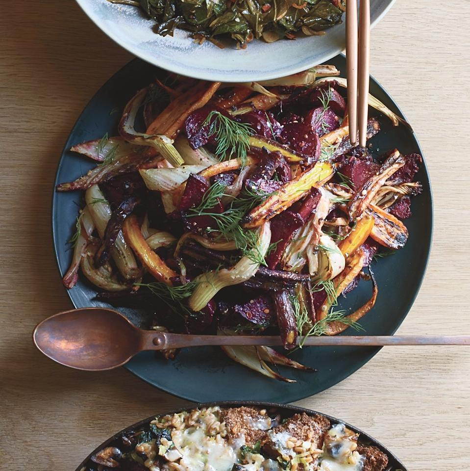 "<p>This simple roasted vegetable side dish tastes rich and complex thanks to mustard-spiced butter.</p><p><a href=""https://www.foodandwine.com/recipes/caramelized-vegetables-dijon-butter"">GO TO RECIPE</a></p>"