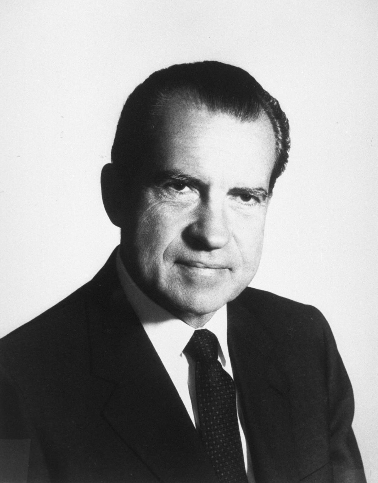 377869 37: (UNDATED FILE PHOTO) Portrait of 37th United States President Richard M. Nixon. June 17, 2002 is the 30th anniversary of the arrest of five burglars inside the Watergate complex in Washington, DC that eventually lead to Nixon being forced from office. Nixon died in 1994. (Photo by National Archives/Getty Images)