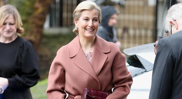 The Countess of Wessex looks sensational in blush ensemble to the opening of a new London ballet school. (Getty)