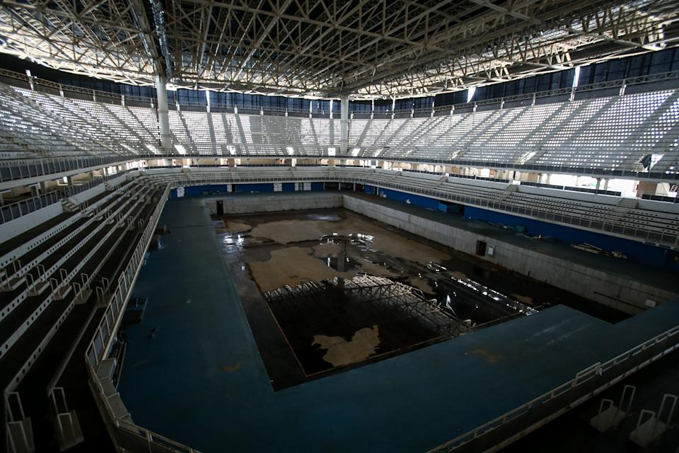 RIO DE JANEIRO, BRAZIL - MAY 20: A view from the mostly abandoned Olympic Aquatics stadium at the Olympic Park on May 20, 2017 in Rio de Janeiro, Brazil. In the nine months after the Olympic games, very few events have been organised in the Olympic Park venues. The Olympic Aquatics stadium was to be dismantled, but it continues abandoned with no obvious signs of dismantlement. In addition, numerous areas of standing water can be found inside and outside the venue in the former official and training pools, making them dengue and zika risk areas. (Photo by Buda Mendes/Getty Images)