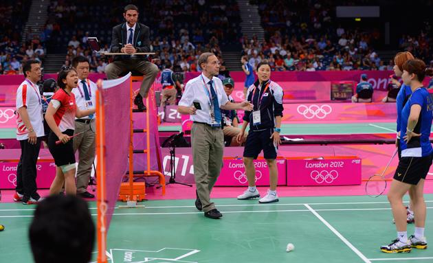 """The World Badminton Federation charged eight female players with misconduct on 1 August 2012 after four Olympic doubles teams had attempted to """"throw"""" matches to secure a more favourable draw later in the tournament. [Text: Reuters]"""
