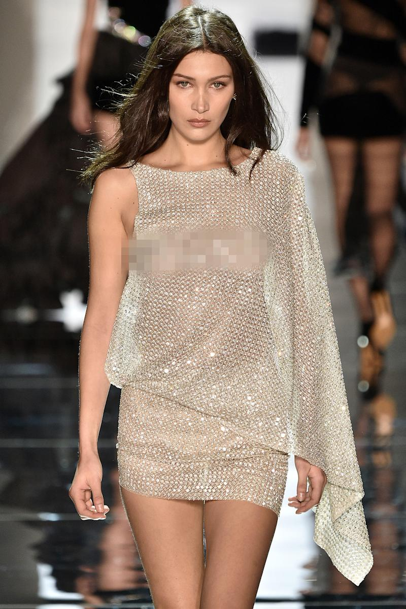 bella hadid walks the runway in yet another see through outfit