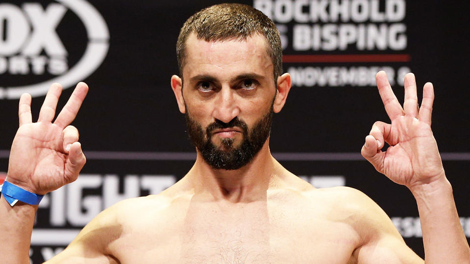 Vik Grujic (pictured) flexing during a UFC fight weigh-in.
