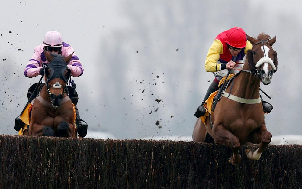 Aidan Coleman riding Native River (R) clear the last to win The Betfair Denman Steeple Chase from Le Mercurey (L) at Newbury Racecourse on February 11, 2017 in Newbury, England - Credit: Getty Images Sport