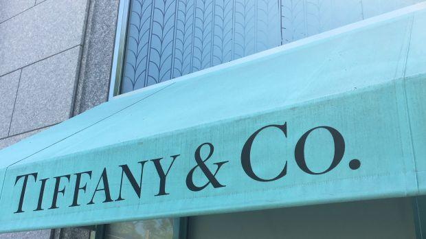 A Tiffany store awning in its signature blue color