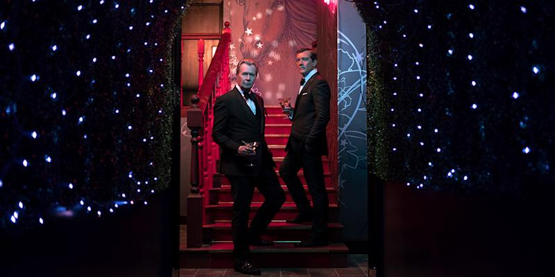Gary Oldman (left) and Antonio Banderas are billionaires who introduce intertwining stories of financial bad behavior in
