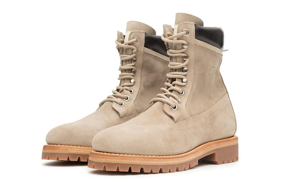 "$425, Stüssy. <a href=""https://www.stussy.com/collections/new-arrivals/products/survivor-boot-light-grey-beige-suede?variant=32954036191328"" rel=""nofollow noopener"" target=""_blank"" data-ylk=""slk:Get it now!"" class=""link rapid-noclick-resp"">Get it now!</a>"