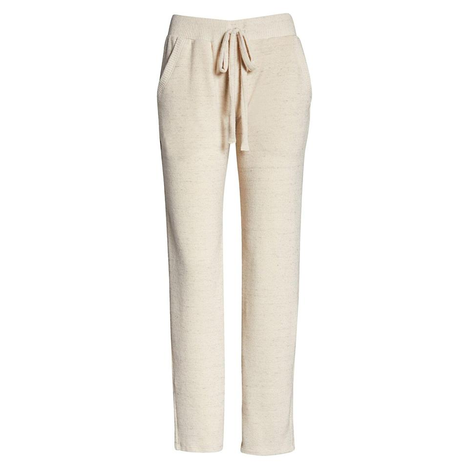 """<p>Upgrade your sweats with this pair of ankle-grazing lounge pants. They're soft and lightweight so you can wear them at home without overheating, and they have an elastic waistband for added comfort. Plus, they have spacious front pockets, which is always a nice bonus.</p> <p><strong>To buy:</strong> $35 (was $46); <a href=""""https://click.linksynergy.com/deeplink?id=93xLBvPhAeE&mid=1237&murl=http%3A%2F%2Fshop.nordstrom.com%2Fs%2Fproject-social-t-lounge-pants%2F5542348%2Ffull&u1=RS%2CNordstromQuietlyMarkedDownPricesonSoManyComfyEssentials%2Cjmastrop%2CCLO%2CIMA%2C697481%2C202003%2CI"""" rel=""""nofollow noopener"""" target=""""_blank"""" data-ylk=""""slk:nordstrom.com"""" class=""""link rapid-noclick-resp"""">nordstrom.com</a>.</p>"""