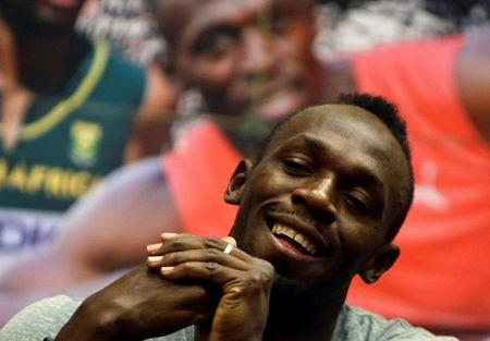 Jamaican sprinter Usain Bolt reacts during a news conference before the Ostrava Golden Spike athletics meeting in Ostrava, Czech Republic, June 26, 2017.   REUTERS/David W Cerny