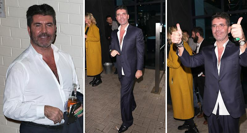 Simon Cowell, pictured here in 2016, left, and in present day, centre and right, is believed to have lost at least 20lbs (1.4 stone) in weight since 2017. [Photo: Getty]