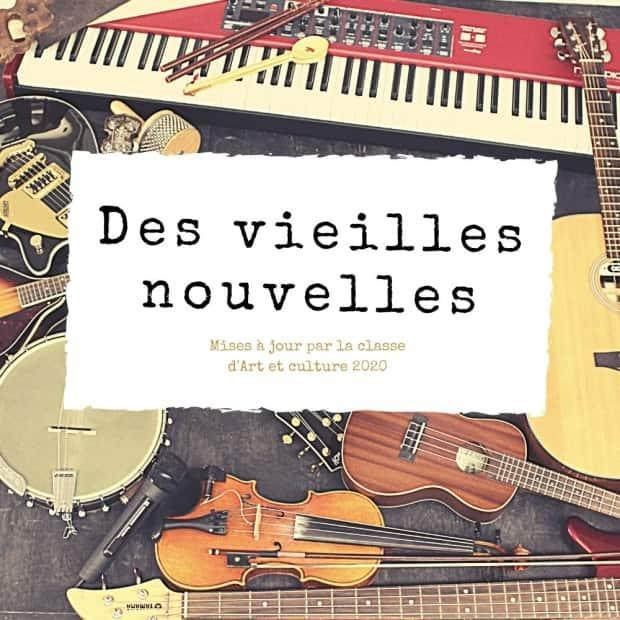 All aspects of the six-track French-language CD called 'Des vieilles nouvelles' were produced by the students, from the vocals and music to the production and promotion. This is a look at the CD cover.