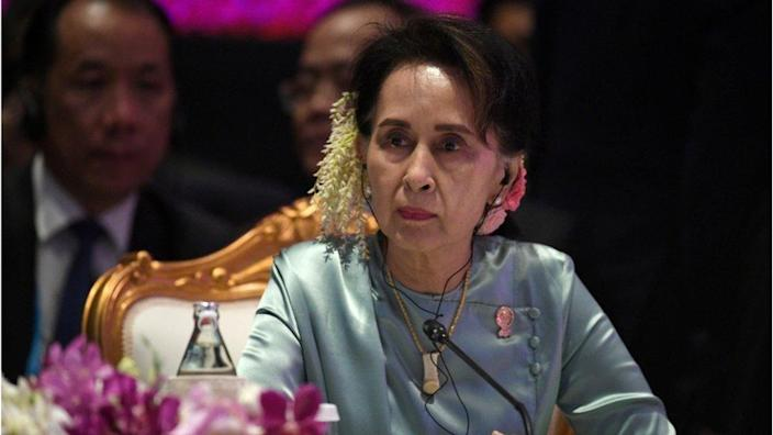 State Counsellor of Myanmar Aung San Suu Kyi attends the 22nd ASEAN Plus Three Summit in Bangkok, Thailand, 4 November 2019.