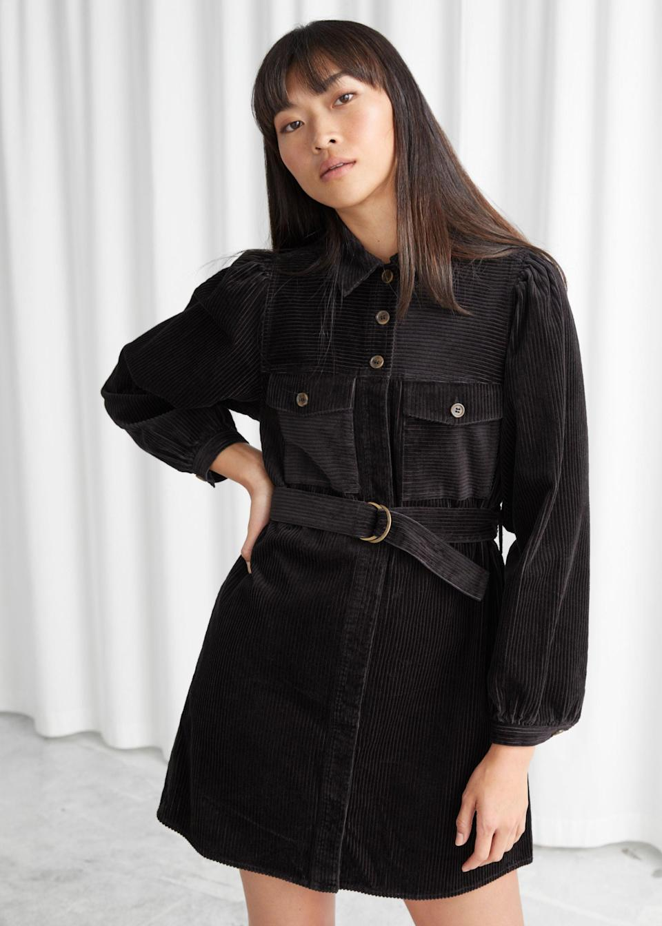 """<br><br><strong>& Other Stories</strong> Belted Corduroy Mini Dress, $, available at <a href=""""https://www.stories.com/en_gbp/clothing/dresses/mini-dresses/product.belted-corduroy-mini-dress-black.0816022001.html"""" rel=""""nofollow noopener"""" target=""""_blank"""" data-ylk=""""slk:& Other Stories"""" class=""""link rapid-noclick-resp"""">& Other Stories</a>"""