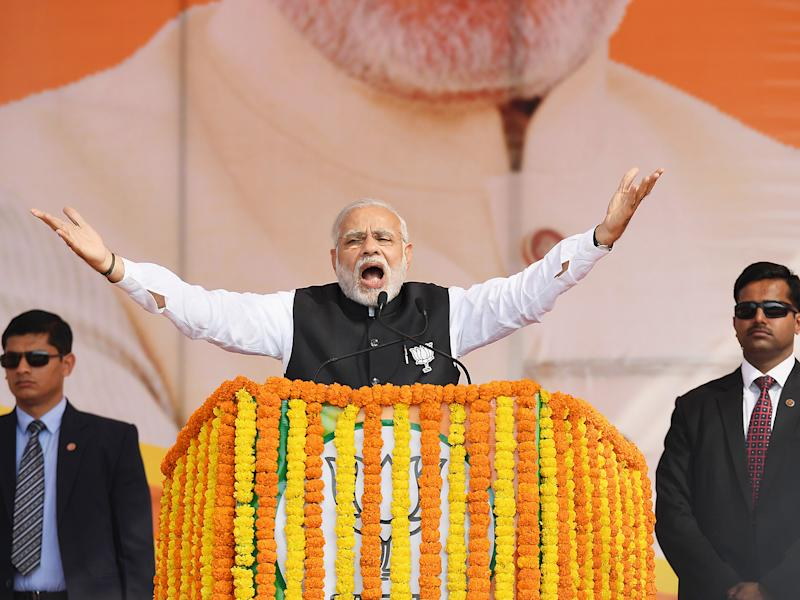 The Prime Minister's party won an overwhelming victory in India's most populous and politically important state Uttar Pradesh: Getty