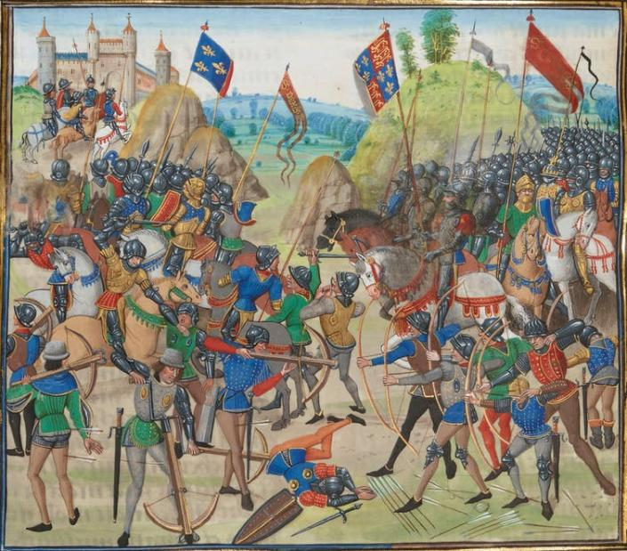 """<span class=""""caption"""">Battle of Crécy between the English and French in the Hundred Years' War.</span> <span class=""""attribution""""><a class=""""link rapid-noclick-resp"""" href=""""https://en.wikipedia.org/wiki/File:Battle_of_crecy_froissart.jpg"""" rel=""""nofollow noopener"""" target=""""_blank"""" data-ylk=""""slk:Wikimedia Commons"""">Wikimedia Commons</a></span>"""