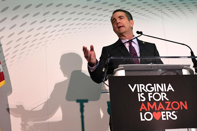 Virginia Gov. Ralph Northam speaks during a news conference in the Crystal City neighborhood in Arlington, Va., Tuesday, Nov. 13, 2018. Amazon, which has grown too big for its Seattle hometown, said it will split its much-anticipated second headquarters between New York and northern Virginia.
