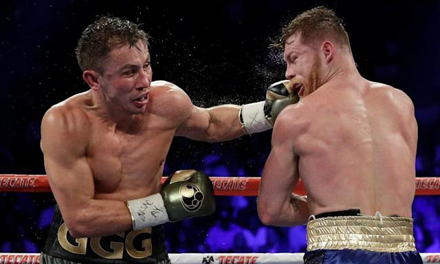 """<span class=""""element-image__caption"""">Gennady Golovkin, left, will fight Vanes Martirosyan after his planned rematch with Canelo Álvarez, right, was scrapped.</span> <span class=""""element-image__credit"""">Photograph: John Locher/AP</span>"""