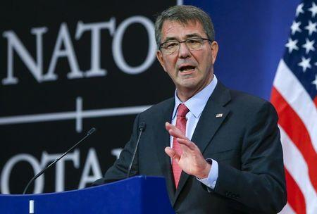 U.S. Secretary of Defense Ash Carter speaks at a news conference during a NATO Defence Ministers meeting at the Alliance's headquarters in Brussels, February 11, 2016. REUTERS/Yves Herman