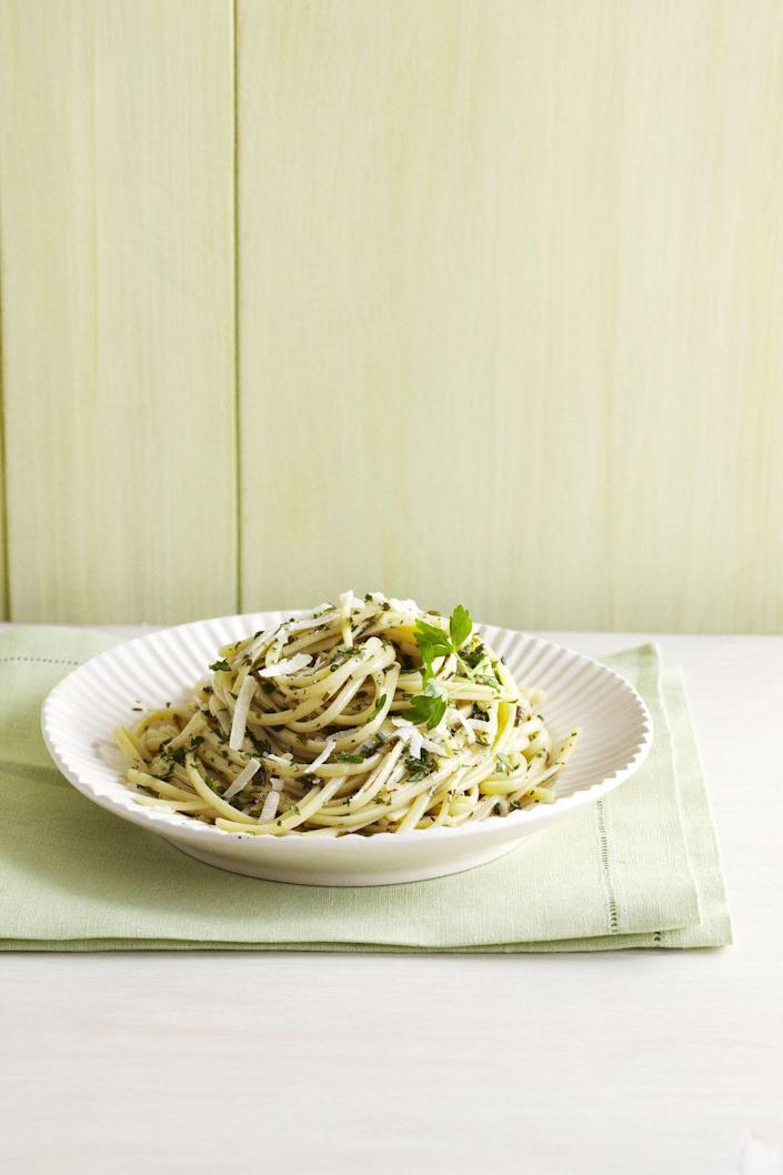 """<p>You're going to need two hands to count the herbs in this bright dish — basil, rosemary, parsley, chives, oregano, and sage. </p><p><em><a href=""""https://www.goodhousekeeping.com/food-recipes/a10960/six-herb-linguine-recipe-ghk0511/"""" rel=""""nofollow noopener"""" target=""""_blank"""" data-ylk=""""slk:Get the recipe for Six-Herb Linguine »"""" class=""""link rapid-noclick-resp"""">Get the recipe for Six-Herb Linguine »</a></em> </p>"""